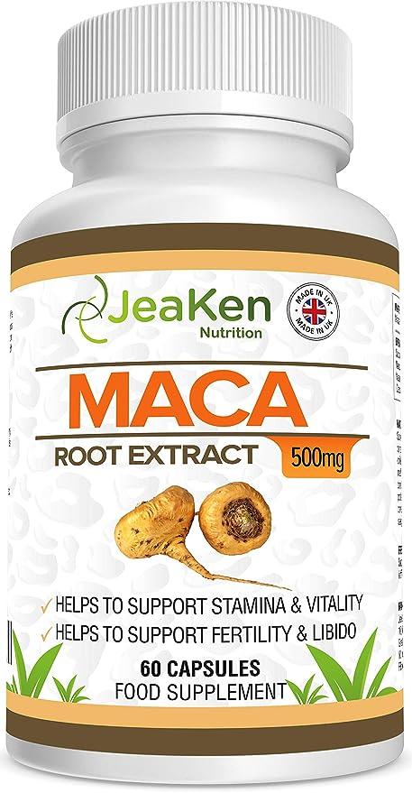 EXTRACTO DE RAÍZ DE MACA Por JeaKen - 60 x 500 mg cápsulas - Aumenta los