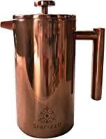 French Press Coffee Maker With Beautiful Copper Finish, Premium Insulated Stainless Steel, Closing Lid Spout Feature For Very High Heat Retention, 34 oz, Classic Design, Dependable Quality