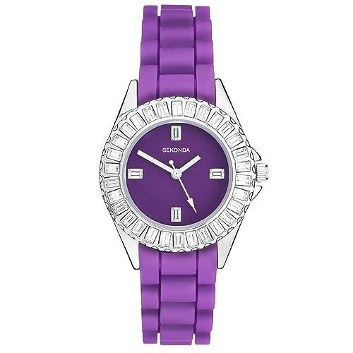 Sekonda reloj lila para mujer con cristales de Swarovski