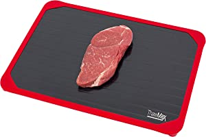 ThawMax Rapid Defrosting Tray   Defrost Chicken, Steak and other Meats Quickly   No Mess Full Silicone Border   Thaw Frozen Foods Faster without a Microwave or Hot Water   Quick and Safe