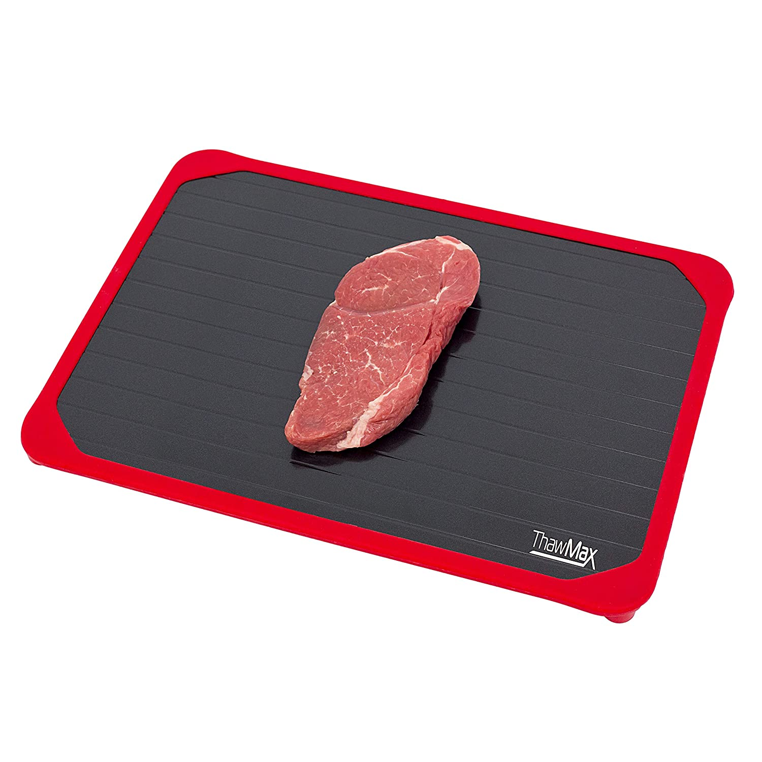 ThawMax Rapid Defrosting Tray | Defrost Chicken, Steak and other Meats Quickly | No Mess Full Silicone Border | Thaw Frozen Foods Faster without a Microwave or Hot Water | Quick and Safe