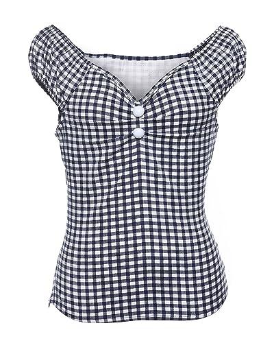 ZAFUL Mujer Vintage 50s Blusa Camisas Lunares Camiseta Sin Mangas XS-2XL
