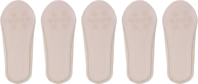 Bella Moda Women's Lace Casual No Show Non-skid Boat Socks Set of 5, Multi, Regular at  Women's Clothing store