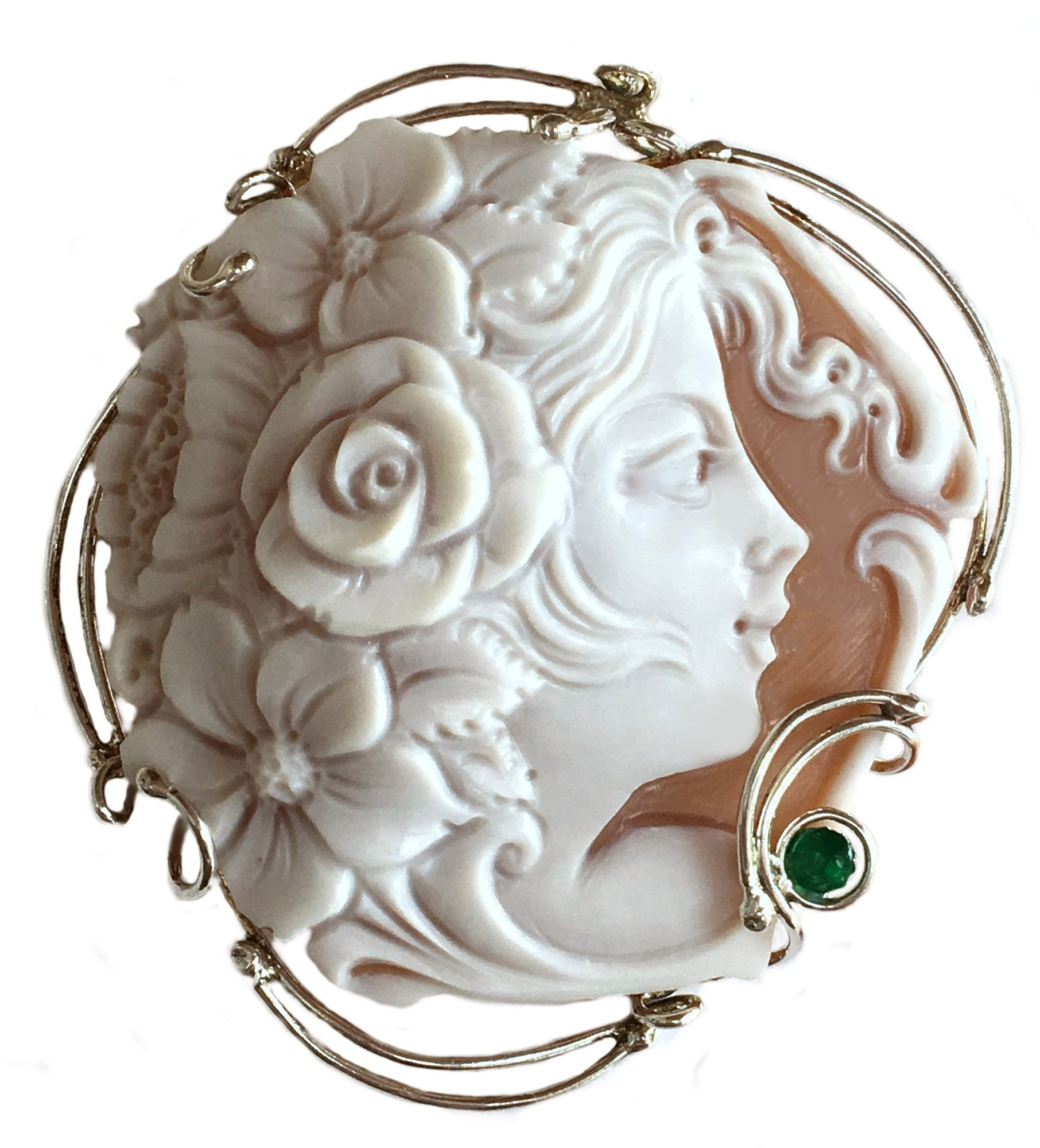 Cameo Brooch Pendant Summer Dream Sterling Silver Master Carve, Italian Sardonyx Shell, Emerald Accent