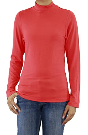 50d8ee32a2c411 Ladies Long Sleeve Super Soft Mock Neck T-Shirt at Amazon Women s Clothing  store