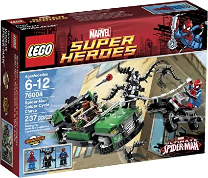 Amazon Com Lego Super Heroes Spider Cycle Chase 76004 Discontinued By Manufacturer Toys Games