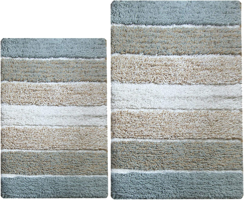 Chardin Home - 100% Pure Cotton - 2 Piece Cordural Stripe Bath Rug Set, (24''x40''& 21''x34'') Bluish Gray-Beige with Latex Spray Non-Skid Backing