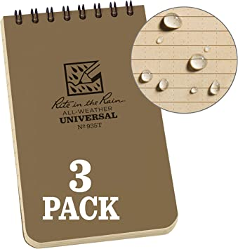 """Rite In The Rain Waterproof Writing Tactical Notepad  3/"""" x 5/"""" Tan Free Delivery"""
