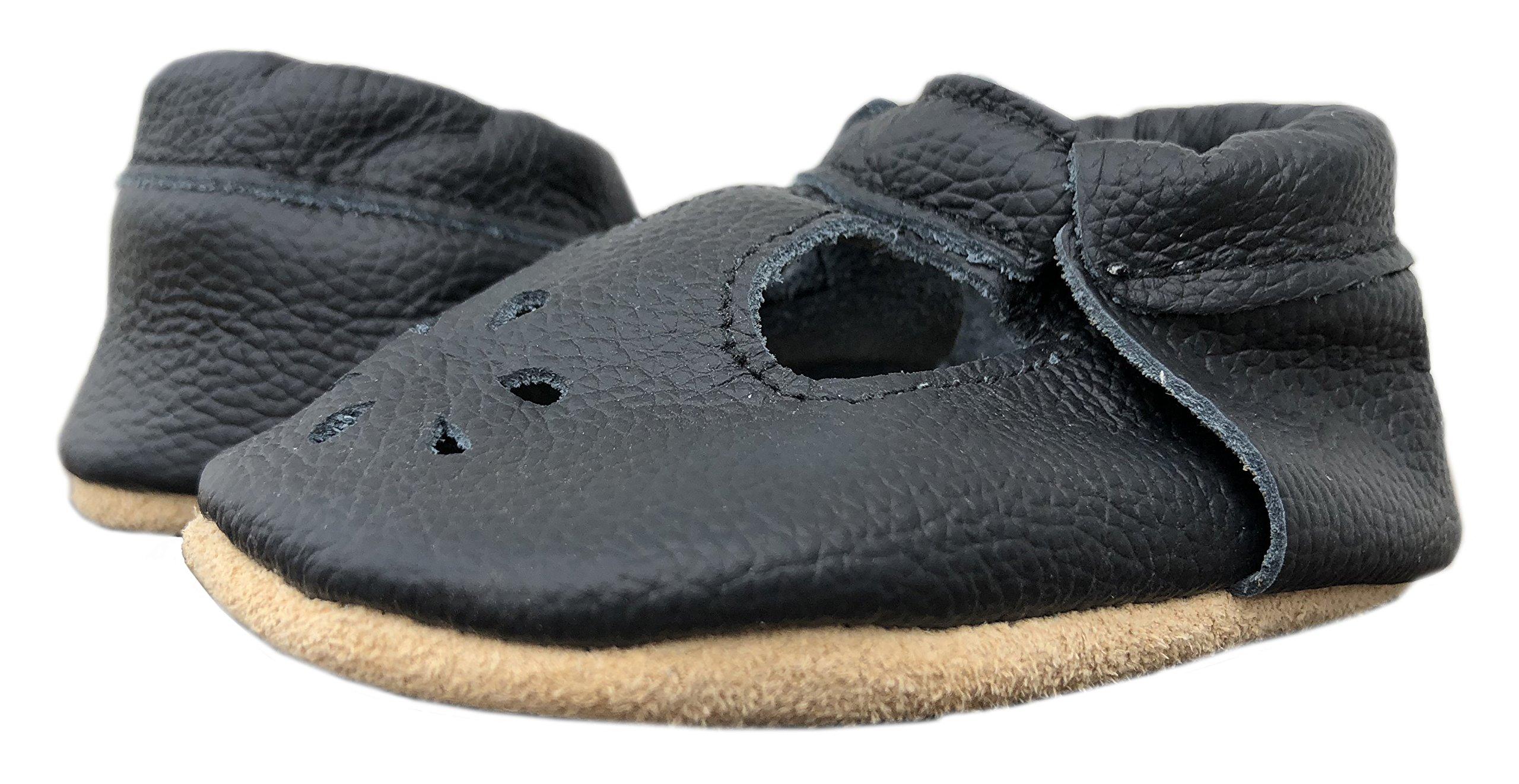 Lucky Love Baby & Toddler Soft Sole Prewalker Skid Resistant Boys & Girls Shoes (12-18 Months, T-Strap Black)