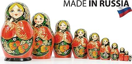 Matryoshka Matreska Babushka Matrioshka Russian Nesting Doll Garden Fruits 7 Pc