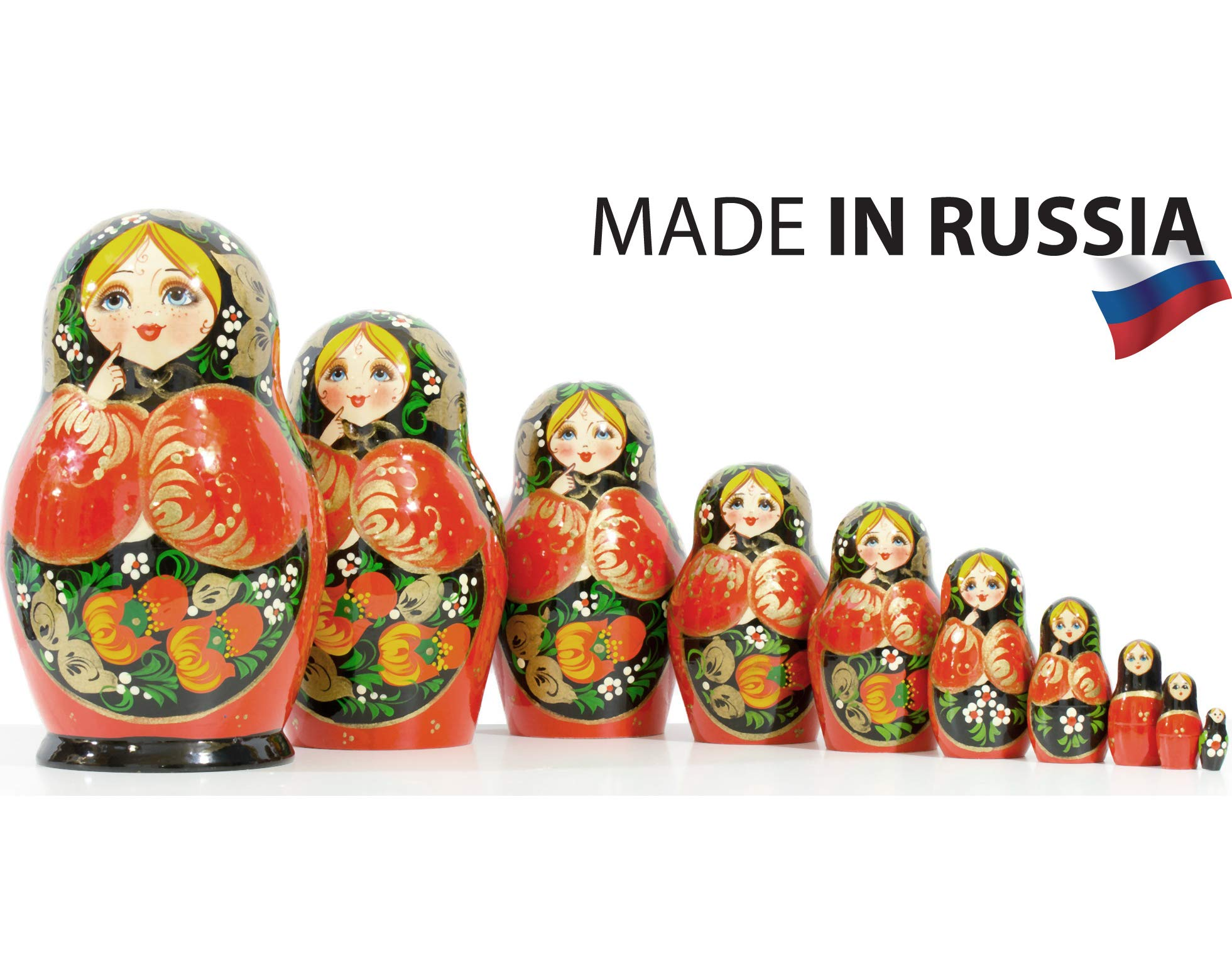 Russian Nesting Doll - Kirov - VJATKA - Hand Painted in Russia - Big Size - Wooden Decoration Gift Doll - Matryoshka Babushka (Style C, 8.25``(10 Dolls in 1))