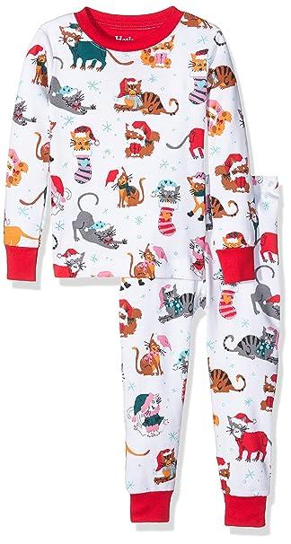 Hatley PJ (AOP) -Holiday Cats, Pijama para Niños, Blanco, 6