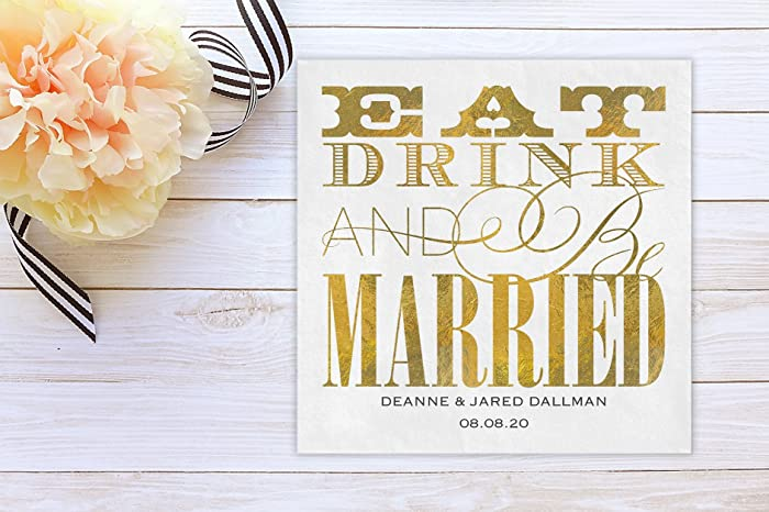 eat drink and be married personalized wedding cocktail napkins dinner napkin custom luncheon napkins