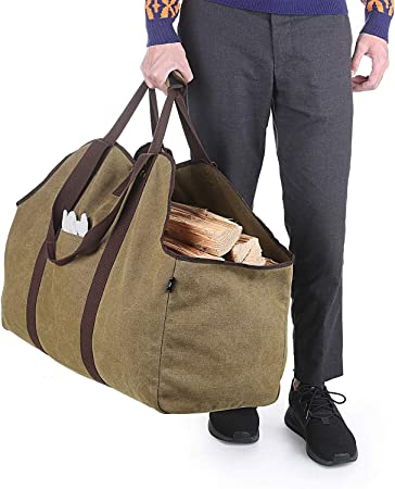 Portador de le/ña impermeable extragrande lona encerada soporte para interior con asas y correa para el hombro bolsa de transporte de madera resistente para chimeneas y estufas de le/ña