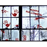 56 PCS Bloody Halloween Window Clings Wall - Vampire Zombie Party Handprint Decals Stickers Decorations
