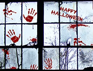 Moon Boat 58 PCS Bloody Halloween Window Clings - Vampire Zombie Party Handprint Decals Decorations