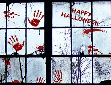 56 pcs bloody halloween window clings wall vampire zombie party handprint decals stickers decorations - Halloween Window Clings