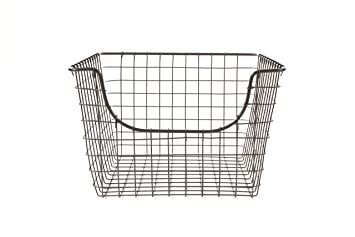 Captivating Spectrum Diversified Scoop Wire Storage Basket, Medium, Industrial Gray