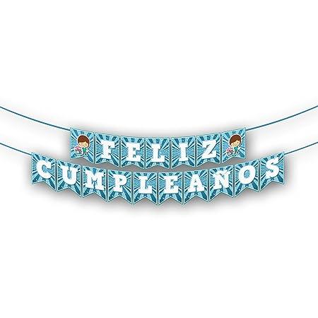 EuroFiestas Guirnalda Nombre Feliz Cumpleaños Azul: Amazon ...
