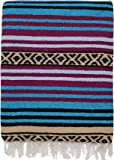 """El Paso Designs Peyote Hippie Blanket Classic Mexican Style Falsa Stripe Pattern in Vivid Peyote Colors. Throw, Bed, Tapestry, or Yoga Blanket. Hand Woven Acrylic, 57"""" x 74"""""""