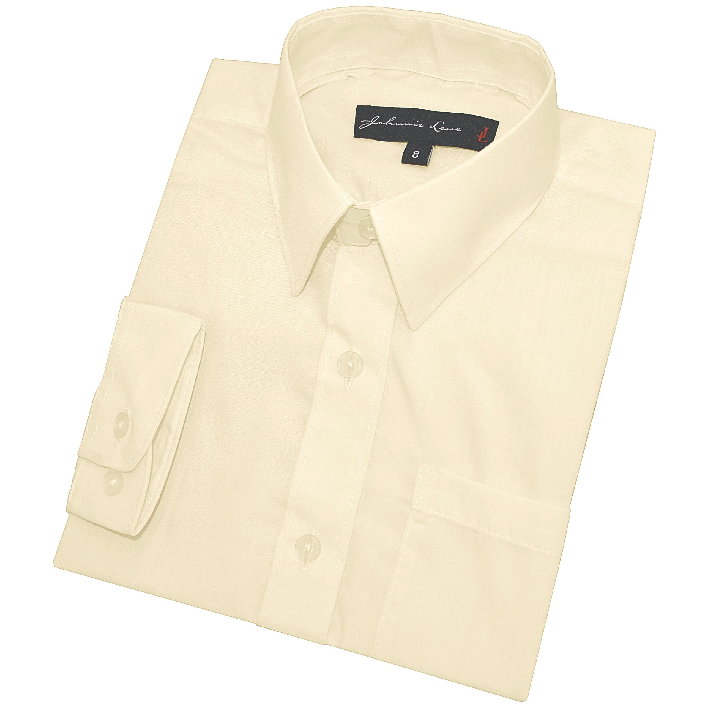 Big Boy's Long Sleeves Solid Dress Shirt #JL32 (20, Ivory)