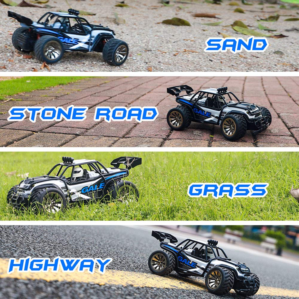 RC Cars KOOWHEEL 1:16 Scale 2WD Off Road Remote Control Cars with 2 Rechargeable Battery 2.4GHz Radio Remote Control Truck Monster High Speed Crawler USB Charger RC Car for Adults and Kids(Blue) by KOOWHEEL (Image #3)