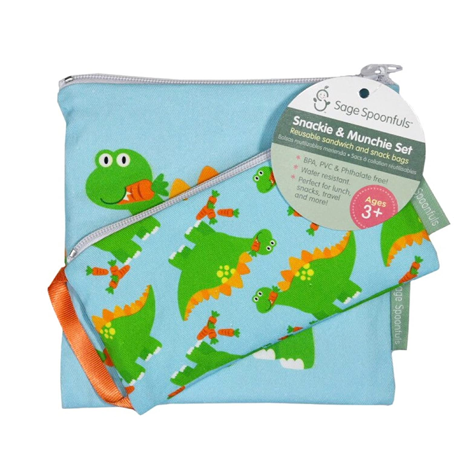 Sage Spoonfuls Reusable Sandwich and Snack Bag Snackie and Munchie Set, Dinosaur