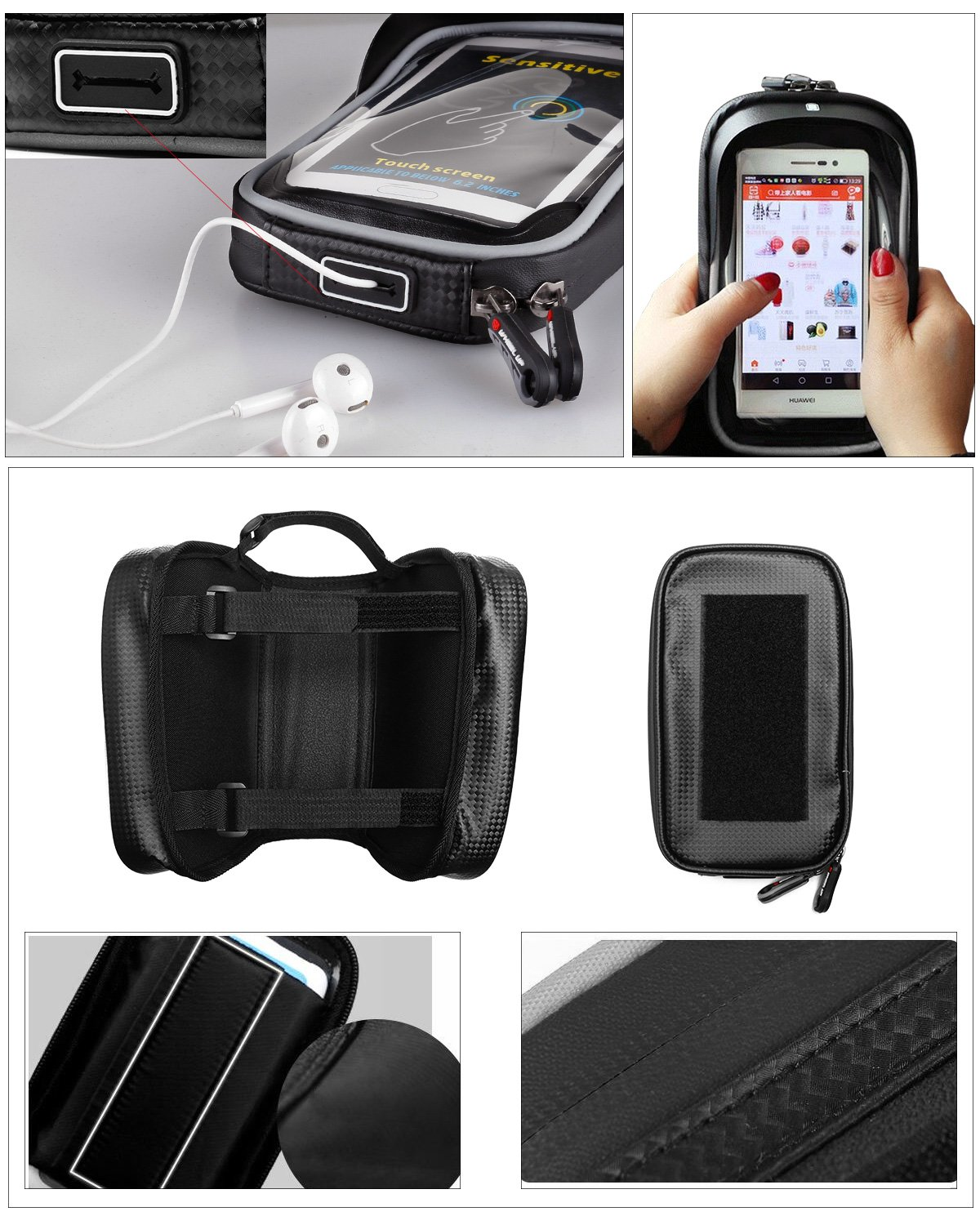 ROTTO Bike Frame Bag Bicycle Top Tube Bag Cell Phone Bag Waterproof Sensitive Touch Screen