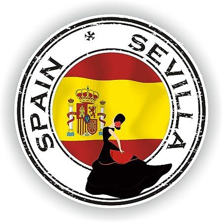 Tiukiu - Pegatina Redonda con diseño de la Bandera de Sevilla en España para portátil, Libro, Nevera, Guitarra, Casco de Motocicleta, Caja de Herramientas, Puerta de PC, Barco: Amazon.es: Hogar