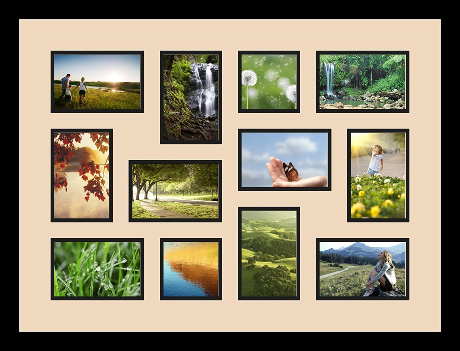 Art to Frames Double-Multimat-1286-783//89-FRBW26079 Collage Photo Frame Double Mat with 2-4x4 and 10-4x6 Openings and Satin Black Frame