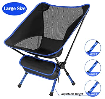 Miraculous Portable Folding Chair Xndryan Folding Camping Chair Foldable Chairs Outdoor Lightweight Fishing Chair 3 Levels Adjustable Height Ideal Compact Onthecornerstone Fun Painted Chair Ideas Images Onthecornerstoneorg