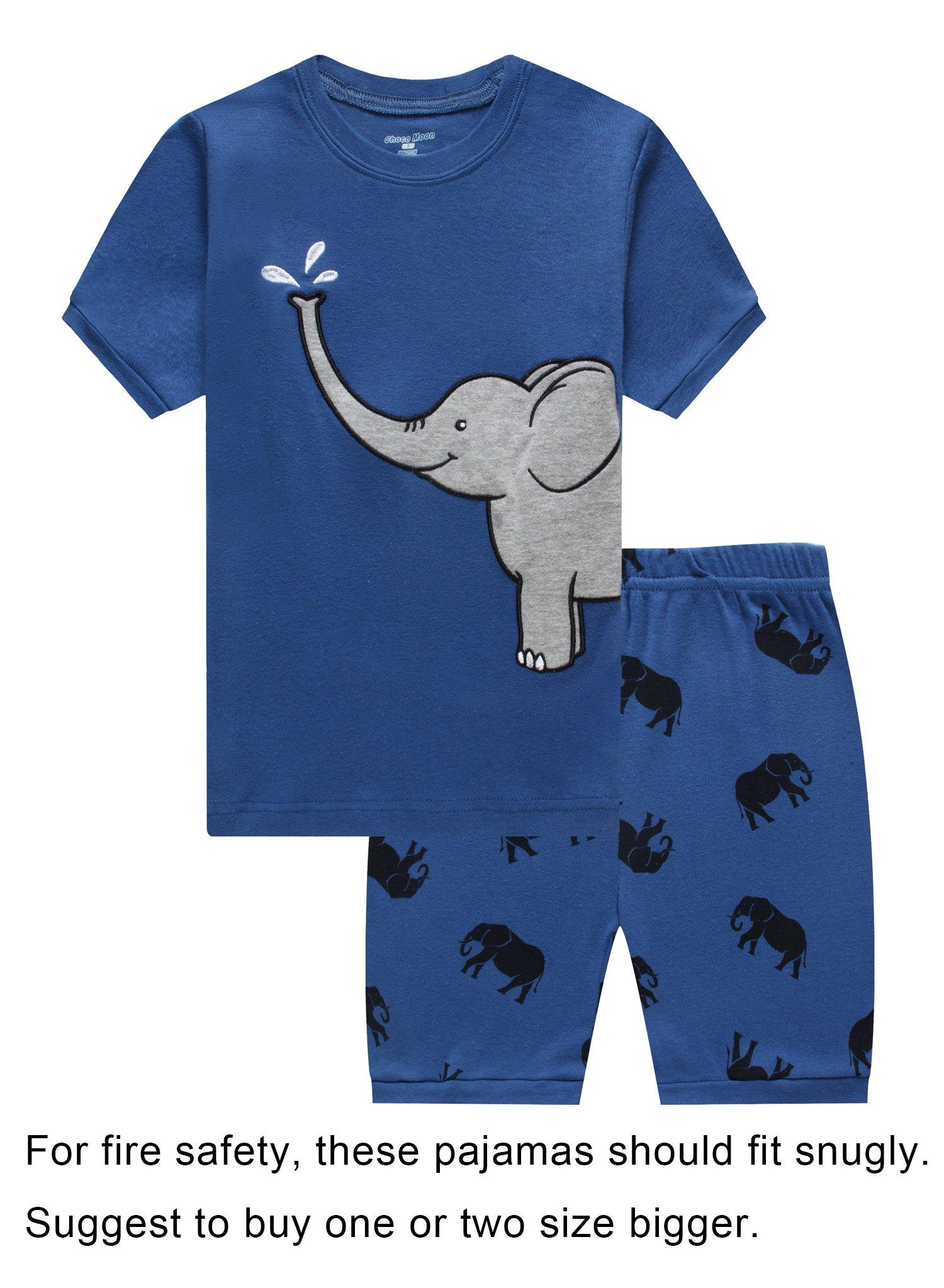Family Feeling Little Boys Elephant Snug-Fit Pajamas Short Sets 100% Cotton Blue Pjs Clothes Kid 3T