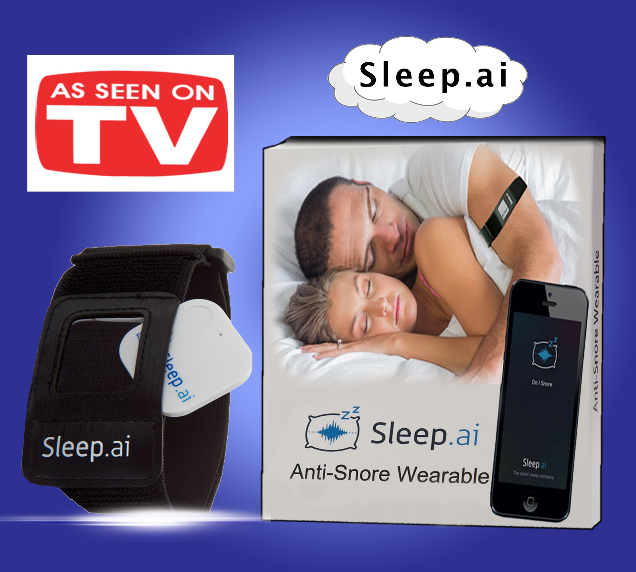 Sleep AI Snoring Solution - Voted BEST Anti Snore Device - Replaces Mouth Guards Mouthpieces Chin Straps Nose Strips and Vents - Snore Stopper to Ease Breathing - Natural and Comfortable Sleep Aid