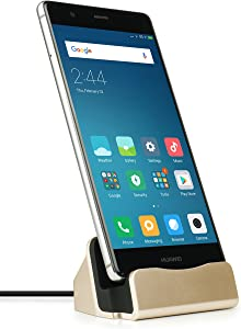 MyGadget USB C Desktop Dock Charging Stand - Docking Station for Samsung Galaxy A30 A90 S10 Plus, Huawei Mate 20 / P20 / P30 (Pro) / Xiaomi Mi 9 - Gold