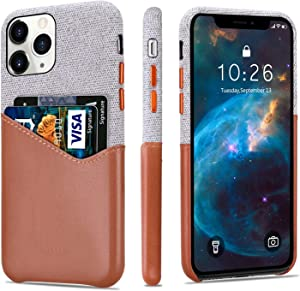 """Lopie [Sea Island Cotton Series] Slim Card Case Compatible for iPhone 11 Pro Max 2019 (6.5""""), Fabric Protection Cover with Leather Card Holder Slot Design, Light Brown"""