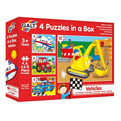 Galt Toys, Four Puzzles in a Box - Vehicles: Toys & Games