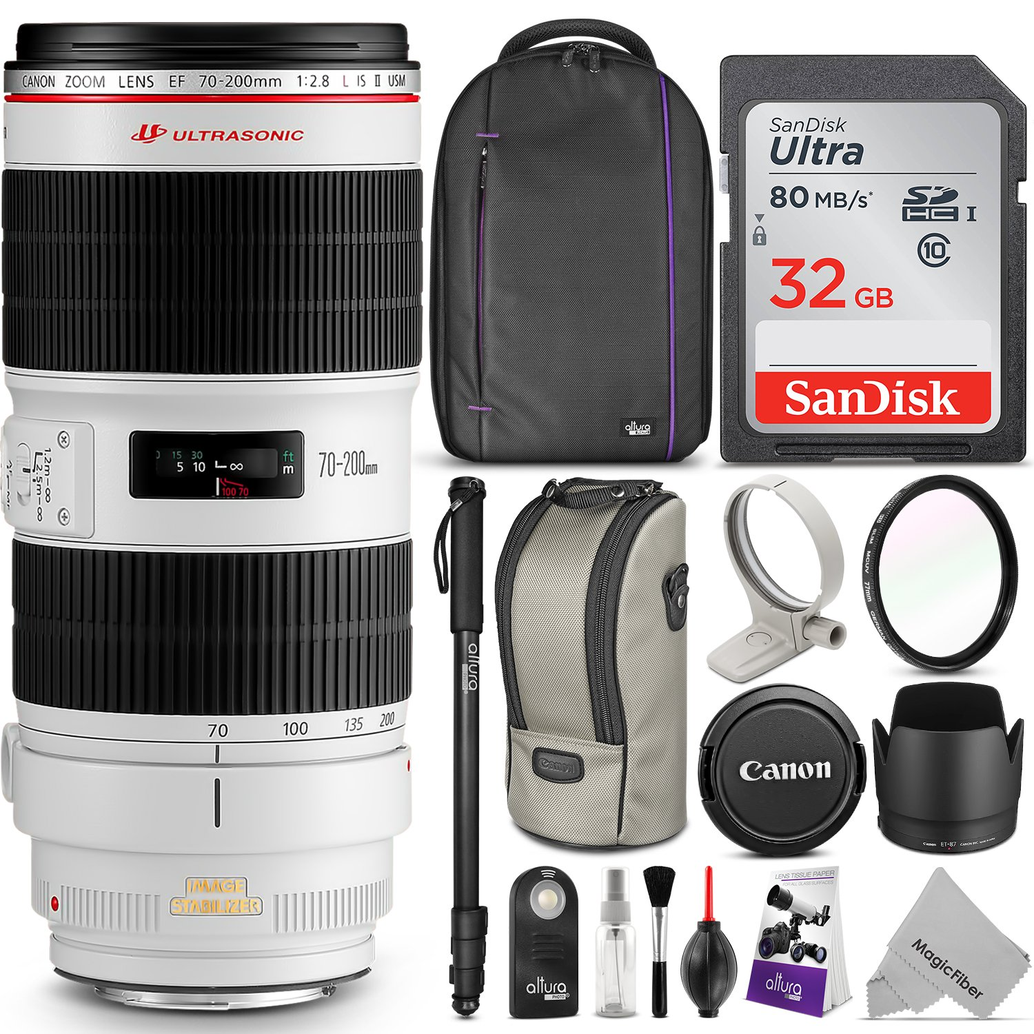 Canon EF 70-200mm f/2.8L IS II USM Telephoto Zoom Lens w/ Advanced Photo and Travel Bundle - Includes: Altura Photo Backpack, Monopod, UV Protector, SanDisk 32GB C10 SD Card
