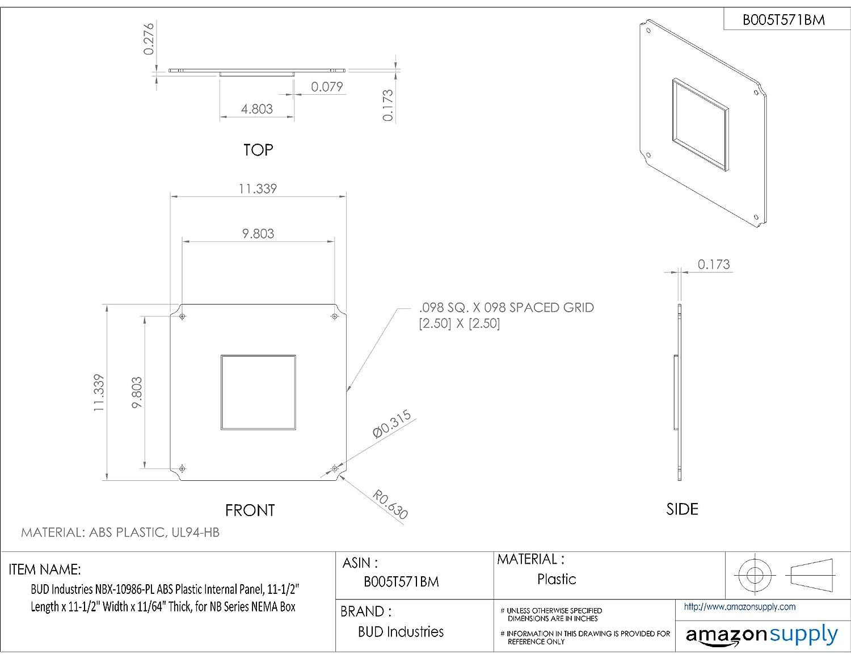 for NB Series NEMA Box 11-1//2 Length x 11-1//2 Width x 11//64 Thick BUD Industries NBX-10986-PL ABS Plastic Internal Panel 11-1//2 Length x 11-1//2 Width x 11//64 Thick