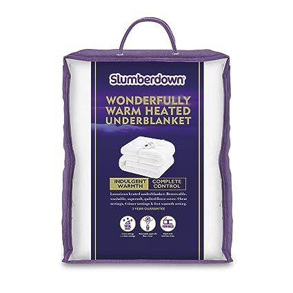 Slumberdown – cálida manta eléctrica – Único,, algodón, Blanco, Doublé
