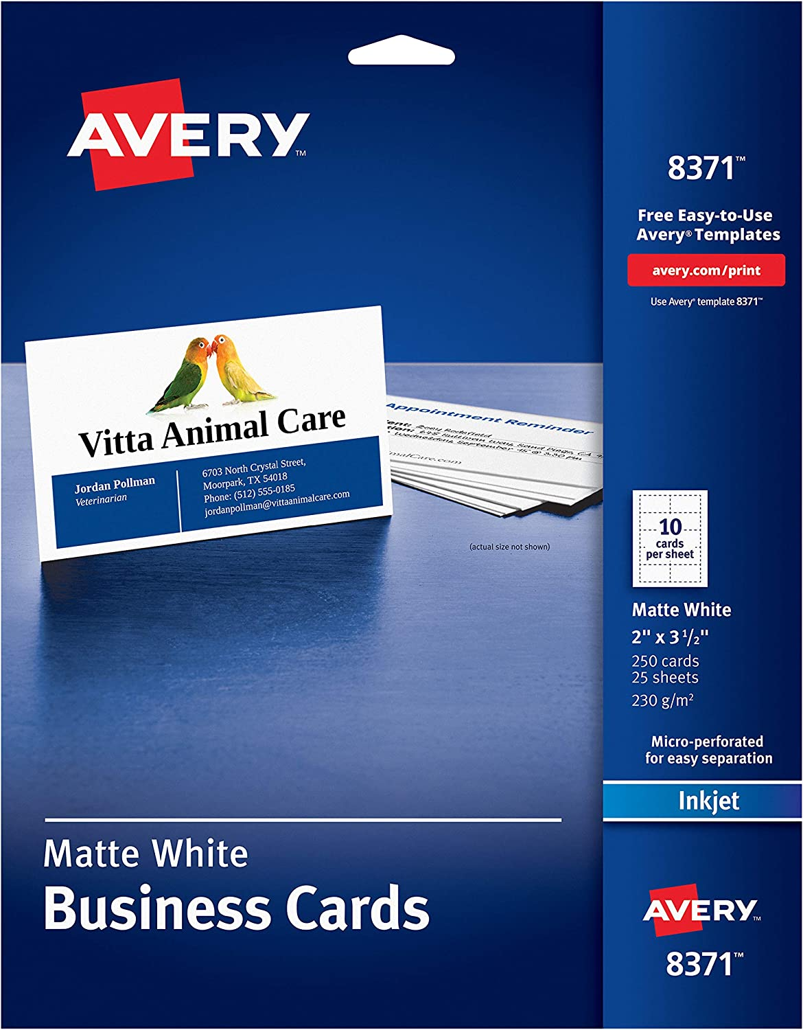 """Avery 2"""" x 3.5"""" Business Cards, Sure Feed Technology, for Inkjet Printers, 250 Cards (8371), White : Business Card Stock : Office Products"""
