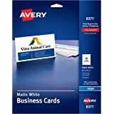 "Avery 2"" x 3.5"" Business Cards, Sure Feed Technology, for Inkjet Printers, 250 Cards (8371), White"