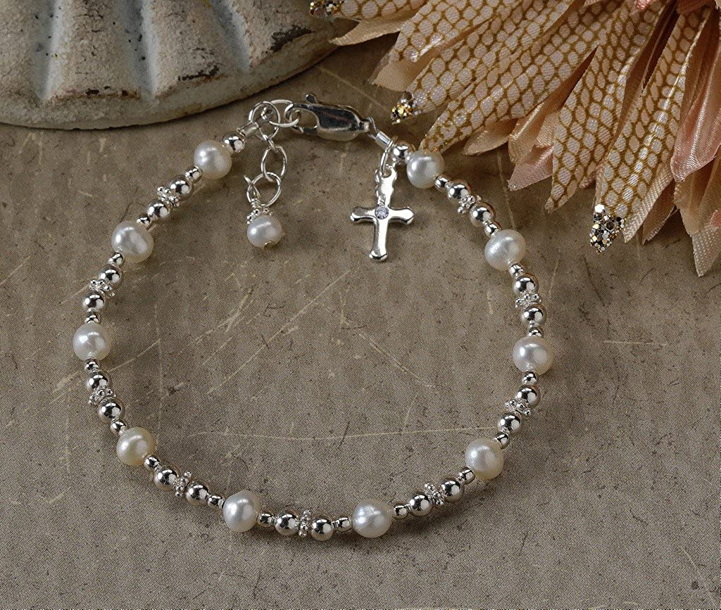 Childrens Sterling Silver Baptism and First Communion Cross Bracelet with Cultured Pearls