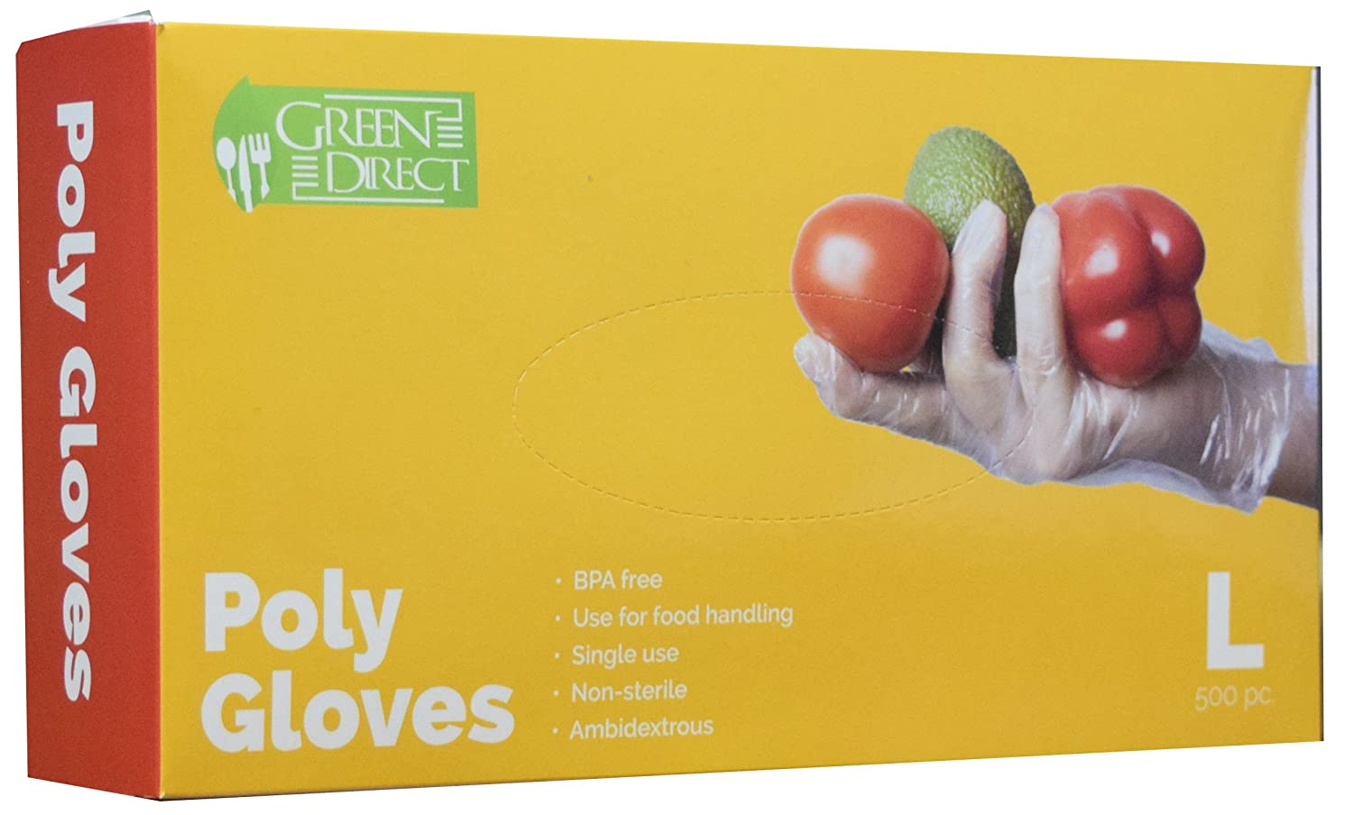 Green Direct Food Grade PE Disposable Plastic Gloves/Food Preparation Poly Gloves BPA Free Box of 500, Size Large