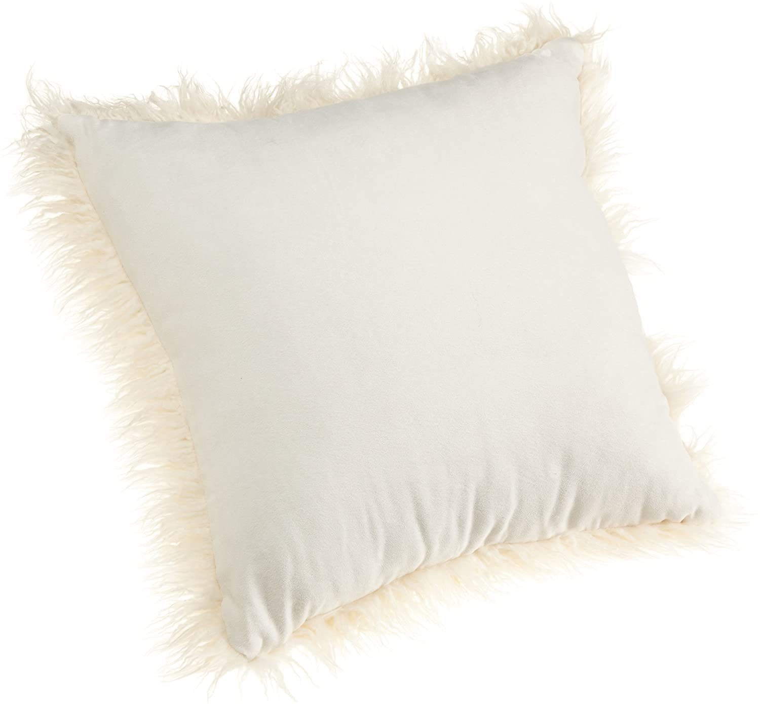 Brentwood 18 Inch Mongolian Faux Fur Pillow White Home Vintage Story Cushion Shabby Patchwork 60x60cm 2 Kitchen