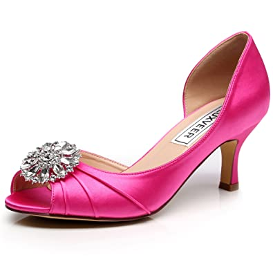 9fa478841723 LUXVEER Sexy Women Shoes Wedding Shoes with Rhinestone Bridal Kitten Low  Heel 2.5inch -RS