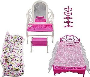 oenbopo Dollhouse Furniture Gift Dresser Set Sofa Set Bed Set Hangers for Barbie Doll Princess Furniture Accessories