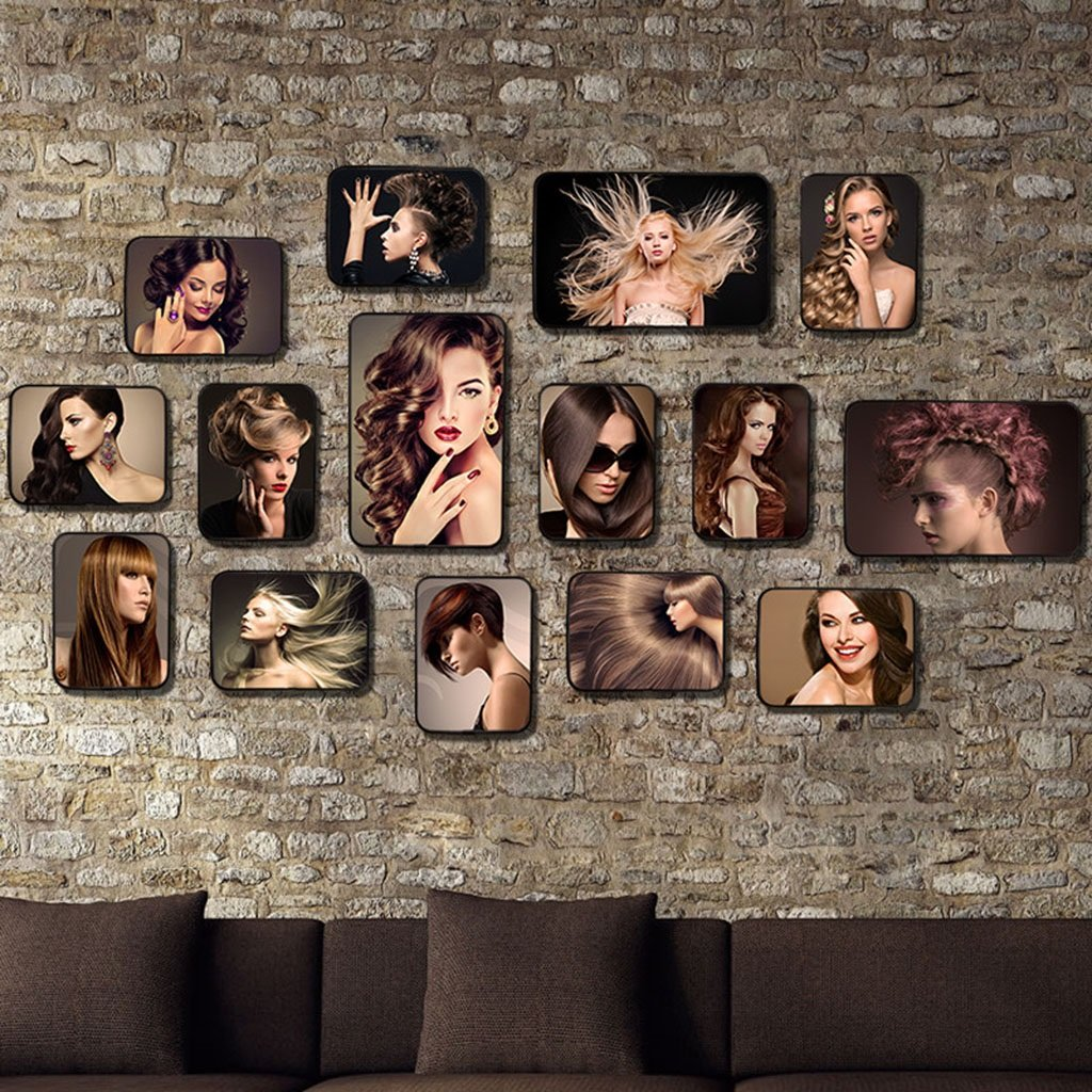 Home@Wall photo frame Retro hair salon Style Photo Frame Sets,Living Room Photo Frame Wall Creative Combination Sofa Background Frames Sets Of 15 ( Color : #13 , Size : 15Frames/15080CM )