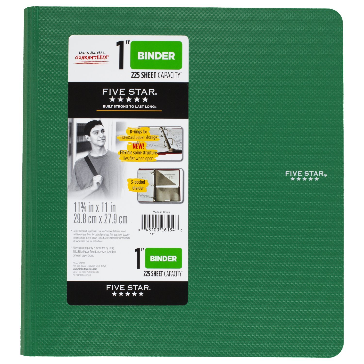 Five Star 1 inch 3 Ring Binder, Plastic, Green (38898)