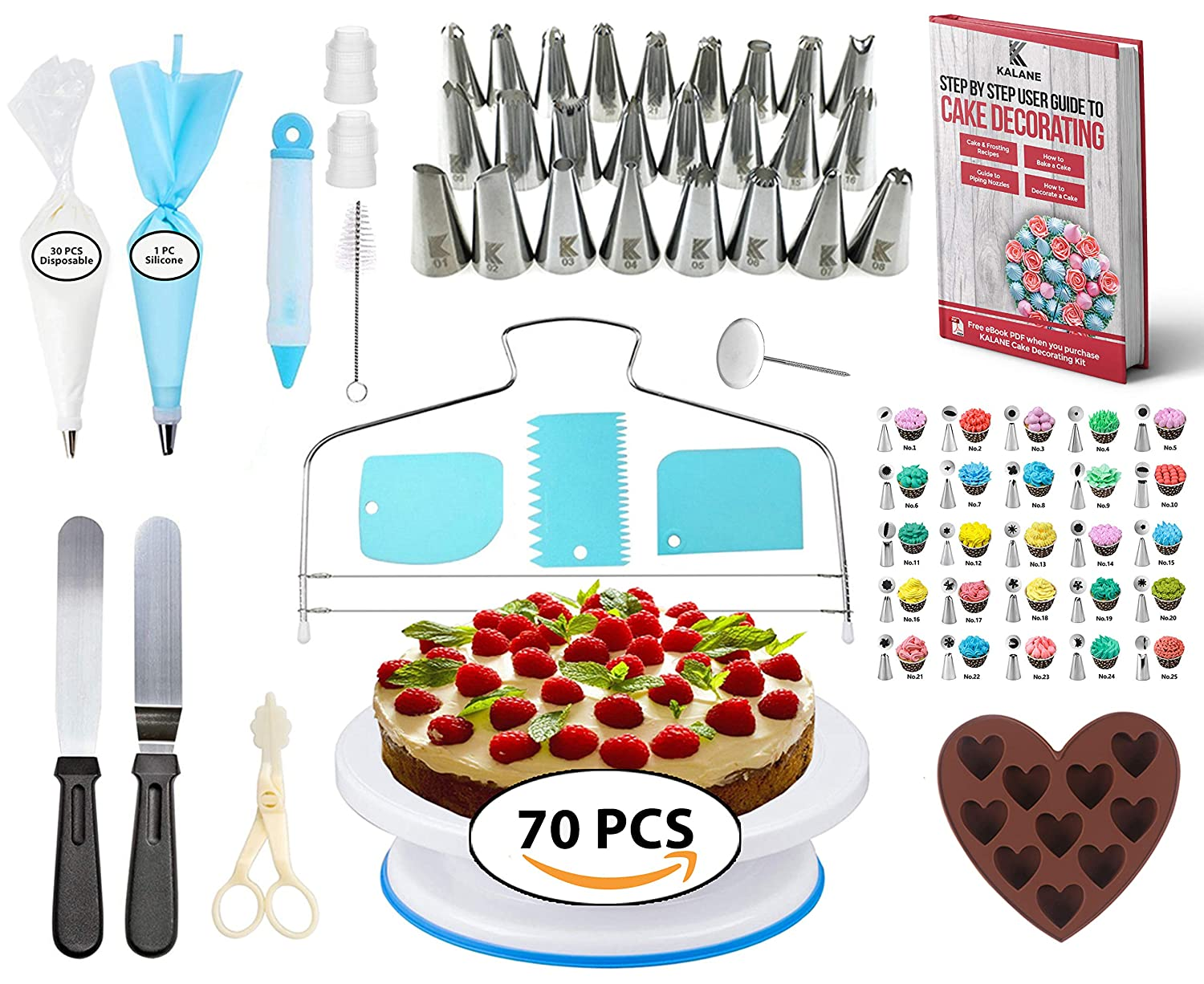 Cake Decorating Equipment Turntable (70 PCS) 25 Numbered Easy to use Icing Tips with Pattern Chart and eBook, Straight and Angled Spatula,3 Cake Scrapers KALANE
