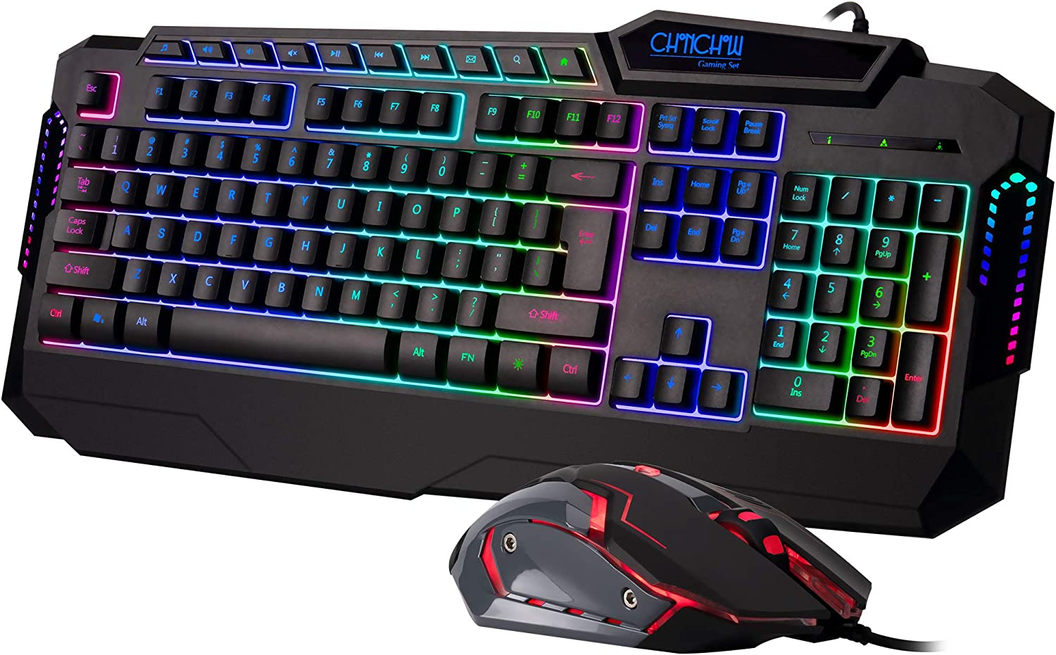 CHONCHOW Wired Gaming Keyboard and Mouse Combo, LED Rainbow Backlit Ergonomic Wrist Rest Gaming Keyboard and 3200 DPI Gaming Mouse Combo for Windows PC PS4 Xbox(Dy61, Black)